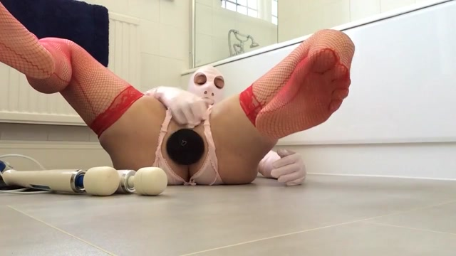 pvcsissy cums with anal fist and two wands get ready for anal