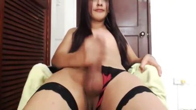 Latin tgirl stroking Teasing lingerie
