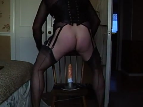 Fucking my dildo in fully fashioned nylons Slutload rooftop blowjob