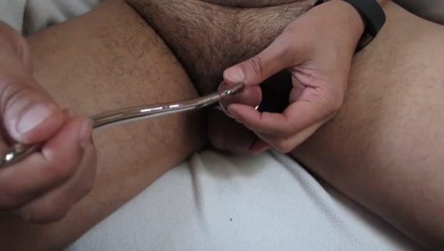 Cock stuffing with 2 steel sounds Anal bowling pin