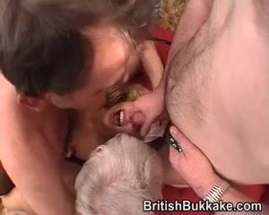 Blond nurse has group sex with grandpas Wife suck tip