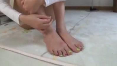Cute asian girl licks her own feet Japanese granny blowjob