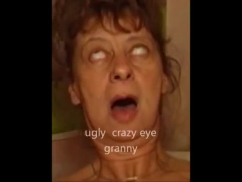 Crazy eye granny piss