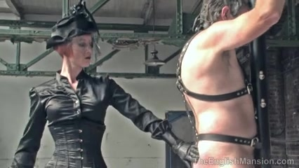 Riding Female-Dom severely beats her thrall