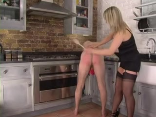 Femdom Corselette and Nylons Femdom-Goddess Spanks in the Kitchen large bare breasts natural boobs big boobs blog 1