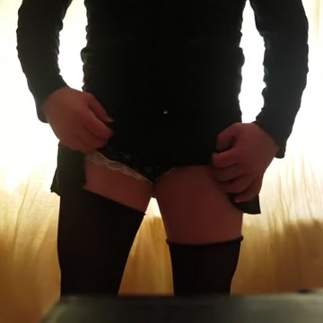 Me my horny cock in a skirt sexy lacy panties Huge cock rips woman