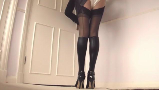 Black leather miniskirt stockings and panties