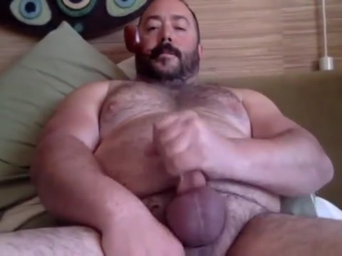 Cigar smoking daddy bear jerking off cumming Smoking fetish models