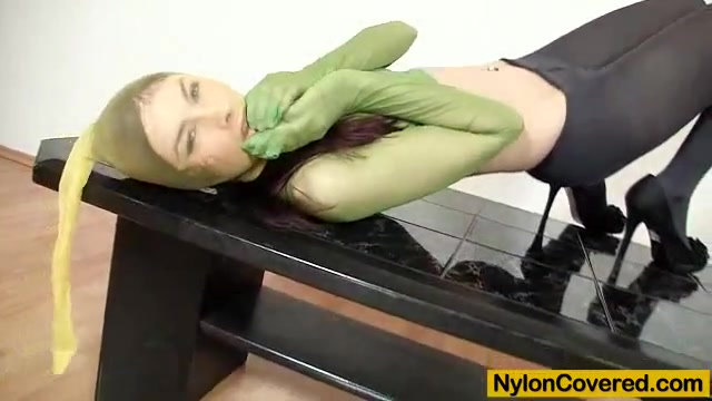 Good-looking body Kattie Gold wears nylon mask girls smoking weed on the toilet