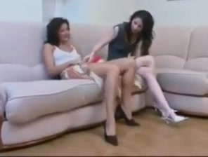 Lesbian anal fucking with a strapon