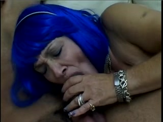 Ugly granny in kinky interracial blowjob