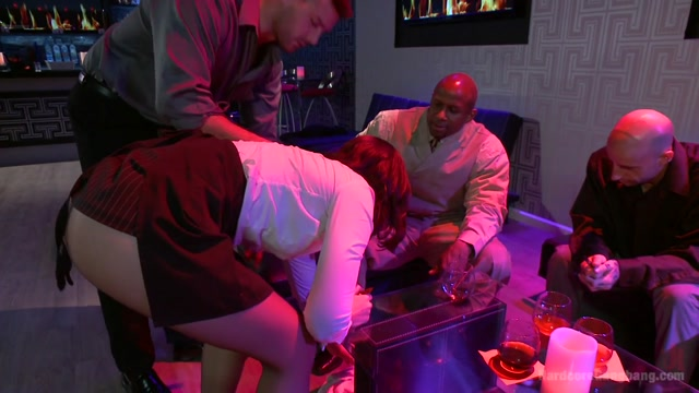 Naughty Waitress Takes Her Payment In Cock In An Interracial Gangbang - HardcoreGangbang Wife fucked in front