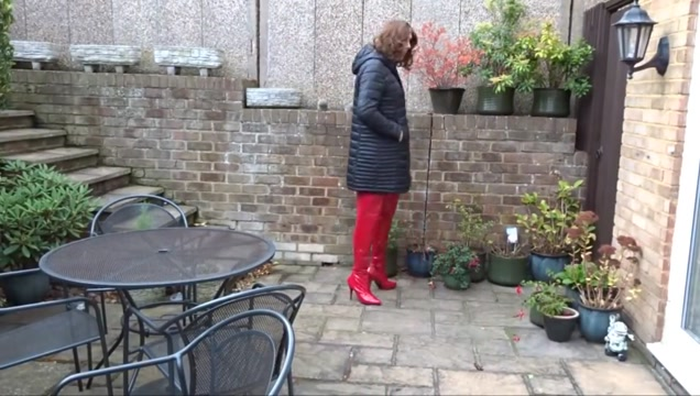 Alison - Piss and Cum in Red PVC Skirt and Thigh Boots Film Porno Teacher