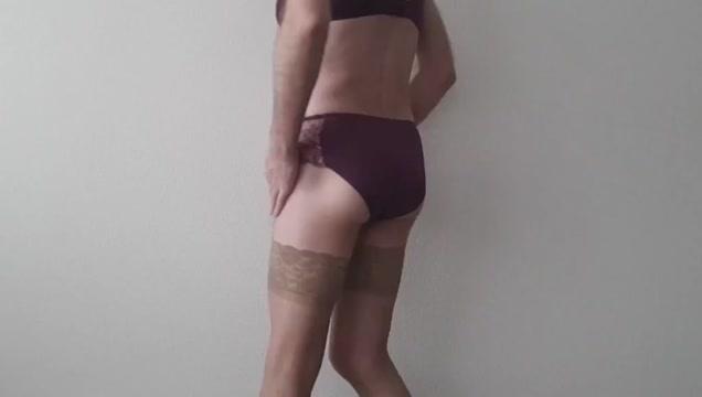 Jerking wearing my new lingerie. Ebony milf hunter