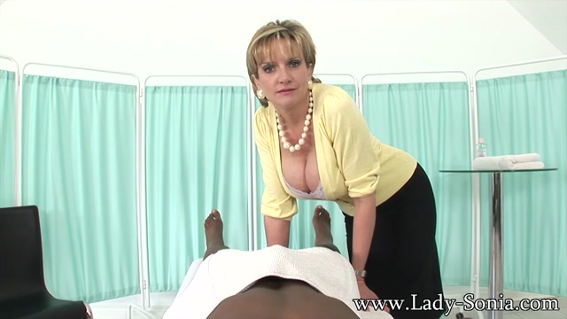 Lady Sonia gives black guy a handjob on massage table - LadySonia Hot busty bbw cougar banged on couch