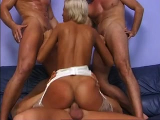 Hot shorthaired blond gang fucked