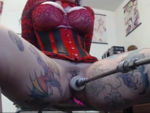 Tattooed girl fucked the machine good Teen big tit hardcore amateur