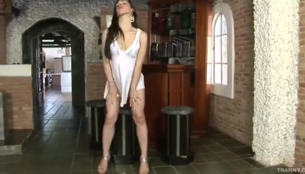 Shemale white skirt masturbation cum
