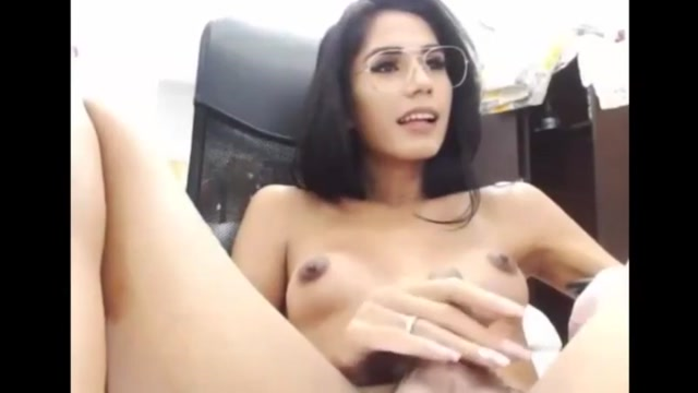 Smart ladyboy with glasses wank