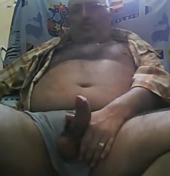 Daddy bear stroking on armachair Huge bikini