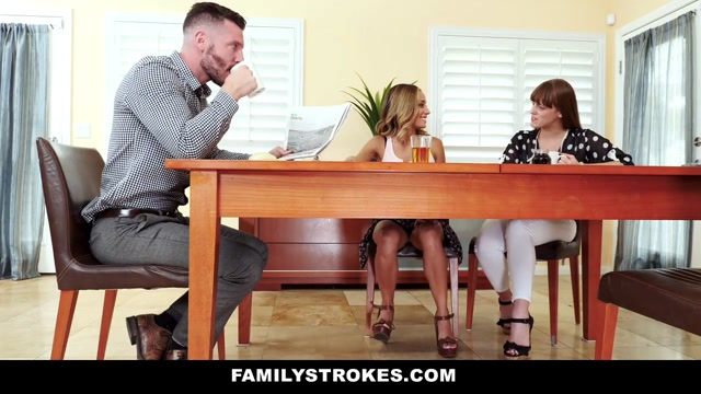 FamilyStrokes - Flashing Her Pussy For Pervy Uncle She shares her food with you