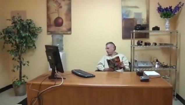 Slim brunette at boss office
