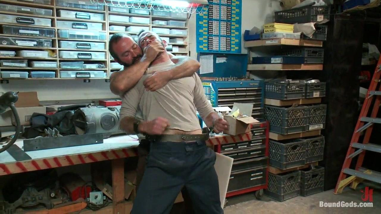 BoundGods : Motor oil bondage fuck in the metal shop Horny Couple