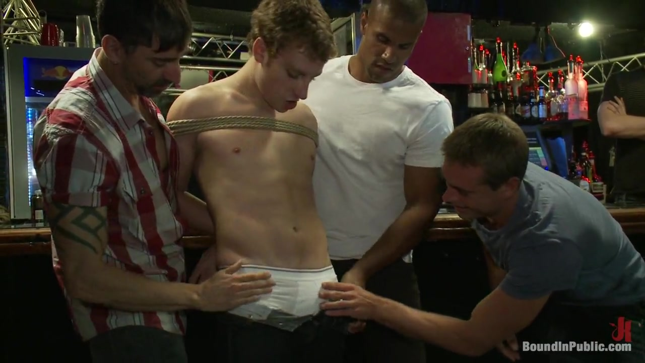 Bound in Public. Sebastian Keys gets his ass stretched and pissed on in a public bar Home made cream pie
