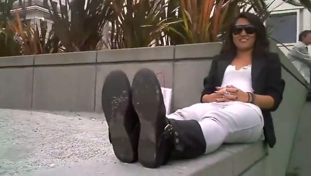 Beautiful woman shows her hot feet !!