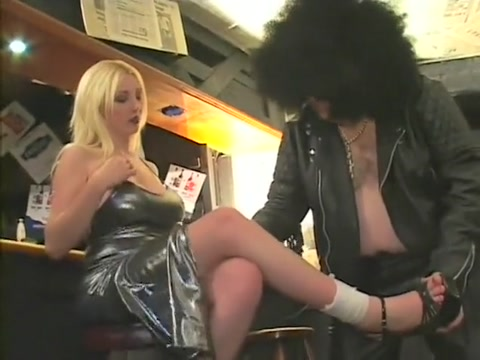 Gorgeous blonde waitress gets nailed hard by a dirty fat asshole