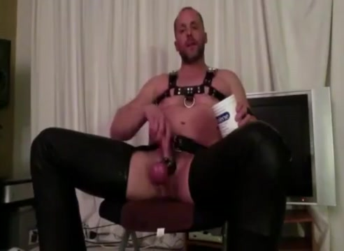 Leather Popper Bate Bbc cum in wife ass