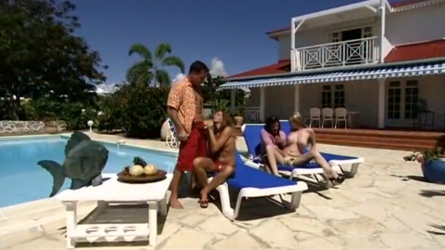 Foursome sex by the pool with two leggy chicks huge cock in jodi taylor s ass