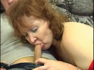 Horny granny with a young cock in pussy and ass