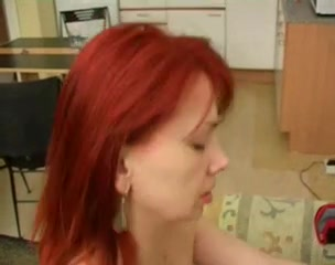 Redhead Russian MILF gets boned properly Lesbians with double headed dildos