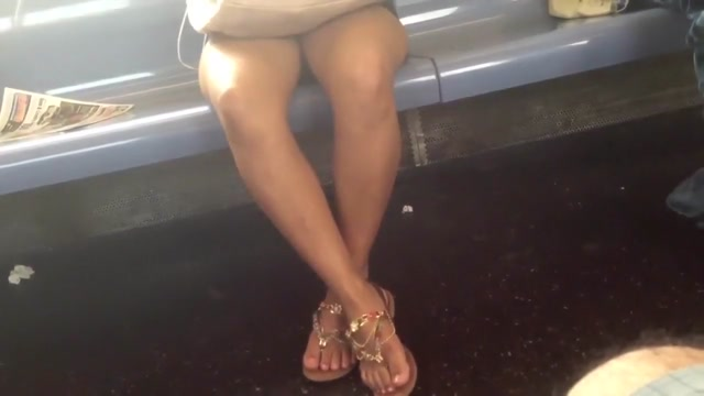 Candid train bare legs and feet Ebony creampie eating