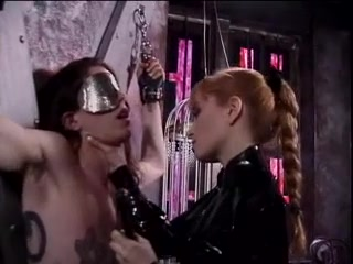 Latex-clad Misstress Lolita fooling around with her slaves cock After club strip