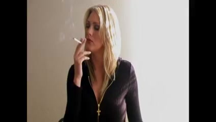 Blonde Woman Smoking #1 long haired chihuahua adult
