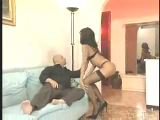 Leggy shemale in black lingerie is a real vamp