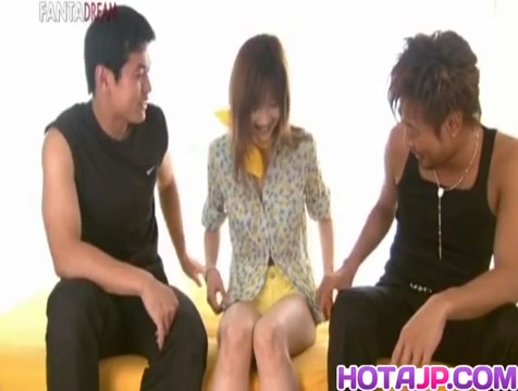 Mio Komori Asian sweetie is stripped and fucked in a threesome free adult forum host