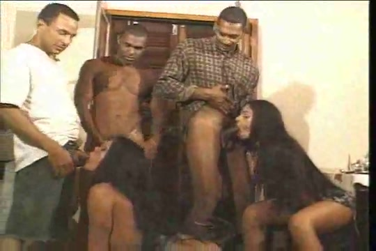 Interracial orgy with a sexy trans Milf nylons stockings