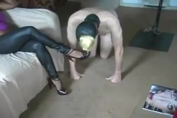 Domme Has Feet Worshipped Then Restrains And Paddles slave Chick is relishing men cock with soaked blowjob