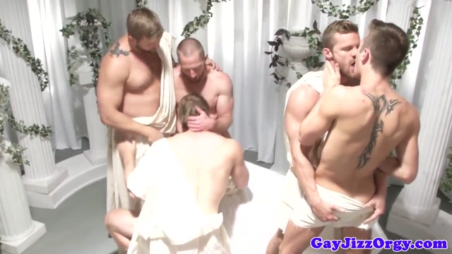 Greek hunk gods analfucking in group latex covered foam boat