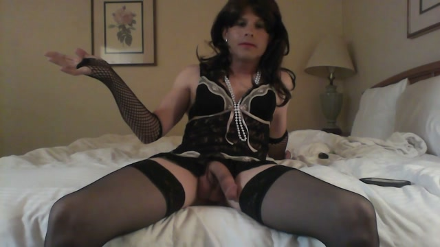Sissy Gurl at hotel stroking her cock Horny girls and dildos