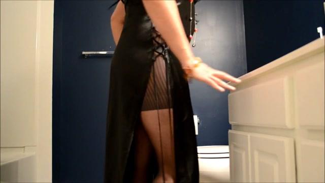 Tease small cock in satin black lingerie blue bra Bbw milf fucks