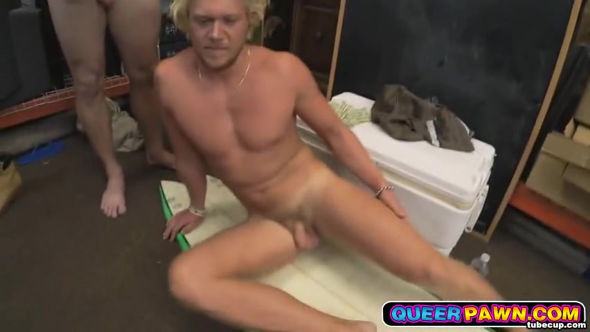 Blonde surf dude payed cash for stripping and getting his cock sucked Lesbian couple fuck a dude
