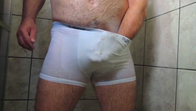 Daddy Shower Underwear Cumming Sexy white bodysuit