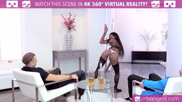VR Bangers - Hot Ebony Pole Dancer Nadia Jay fingered by 2 buddies