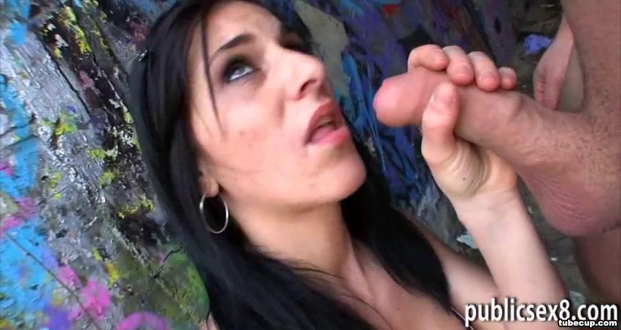 Slim brunette Czech slut fucked under the bridge for money