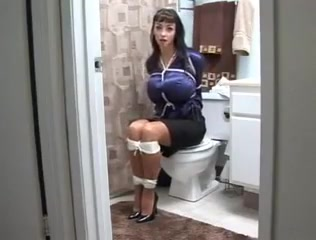 Secretary in bathroom Havana Ginger Ass Fuck