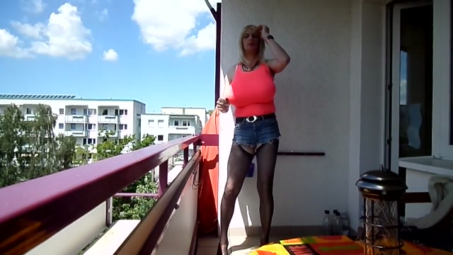 Blond Whore with Monster Tits smoking Outdoor Sexy naked fuking photo